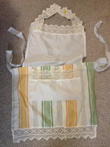An apron made out of fabric scraps