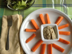Serve baba ghanoush with raw veggies and a side salad.